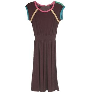 SOLD 70s Women's Terry Cloth Dress S/M Colorblock